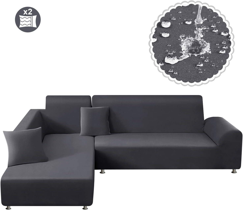 TAOCOCO Funda para sofá Funda elástica Impermeable para Juego de 2 en Forma de L con Funda de Almohada de 2 Piezas (3 plazas + 3 plazas, Gris Claro)