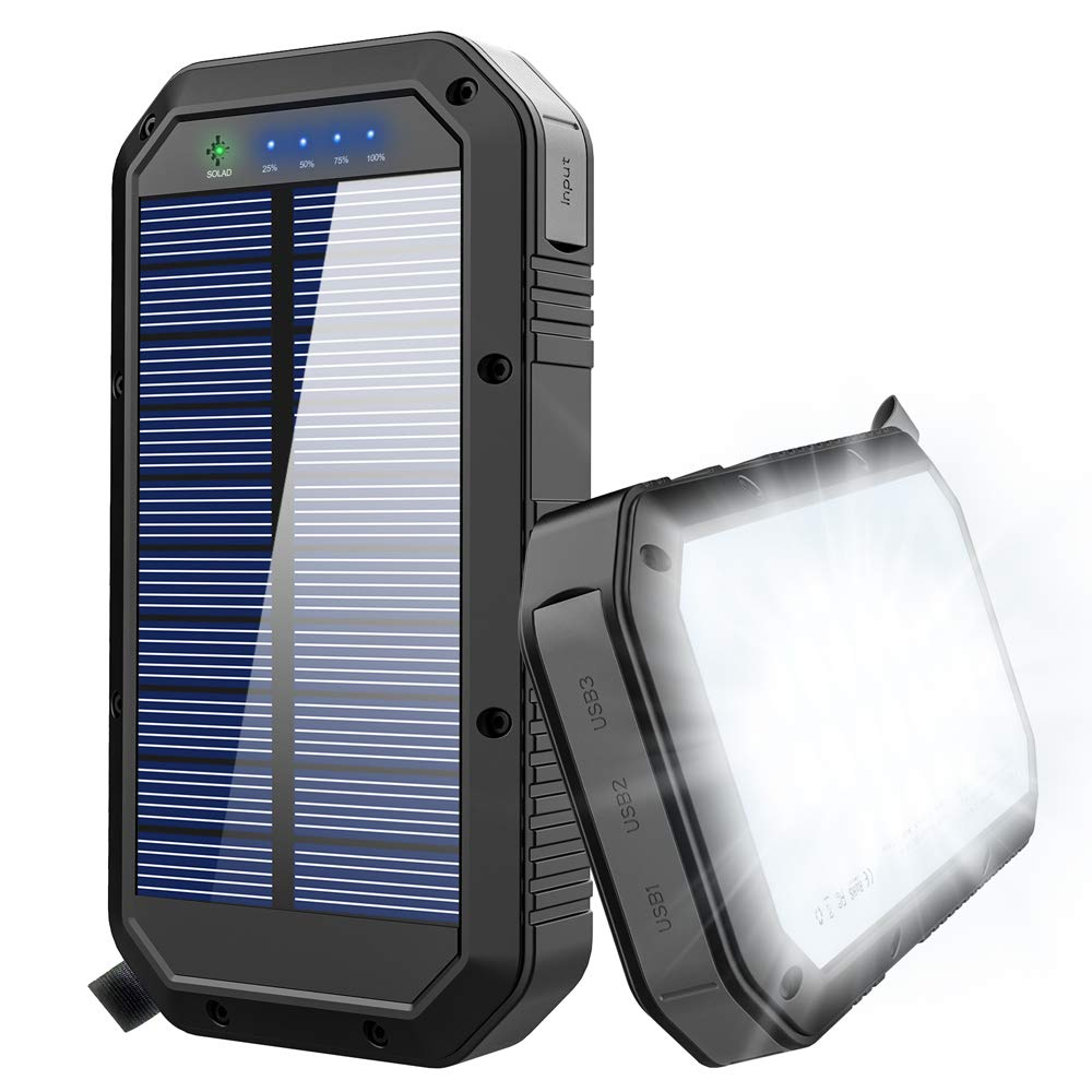 Colorful Solar Charger 25000mAh Solar Power Bank Portable Panel Charger with 36 LEDs and 3 USB Output Ports External Backup Battery for Camping Outdoor for iOS Android