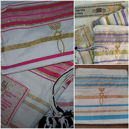 Set of 3 Pink Purple Light Blue Messianic Seal Prayer shawls – Talit Talis 72 x 22 inches – Tallit
