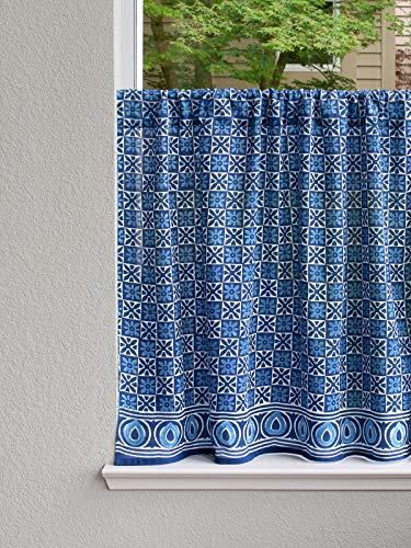 Batik Panel - Saffron Marigold - Starry Nights - Navy Blue and White Batik Print Hand Printed - Sheer Cotton Voile Kitchen Curtain Panel - Rod Pocket - (46