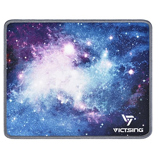 VicTsing Mouse Mat (260 x 210 x 2mm) Gaming Mouse Pad with Non-Slip Rubber Base, Durable Stitched Edges, Smooth Surface for Laser and Optical Mouse - Galaxy Blue