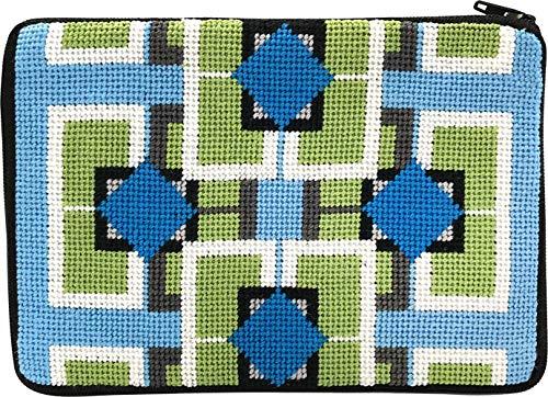 Stitch & Zip Needlepoint Cosmetic Purse Kit- Frank Lloyd Wright Imperial Hotel - Geometric Needlepoint
