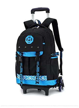 a7f4f5eb0d Kids Rolling Backpacks Phaedra FU Trolley School Bags Backpack With 6  Wheels Climbing Stairs (Blue