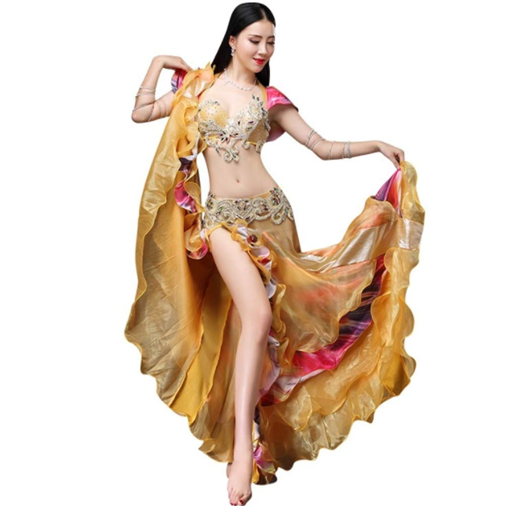7ffbb183e74f Belly Dance Costume Set for Women Professional Performance Clothing  Carnival Bellydance Suit Bra Belt and Skirt Competition Dance Wear:  Amazon.co.uk: Sports ...