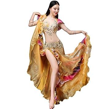 WQWLF Disfraz de Danza del Vientre para Mujer Ropa de Rendimiento Profesional Carnaval Traje de Danza