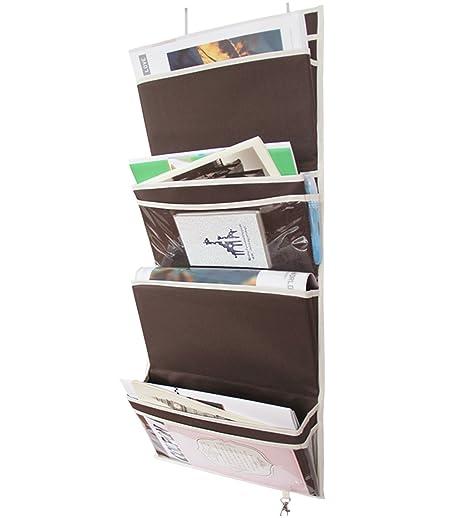 Amazon.com: MISSLO Mail Organizer Wall Mount Over The Door Magazine Storage  (4 Pockets, Coffee): Home U0026 Kitchen