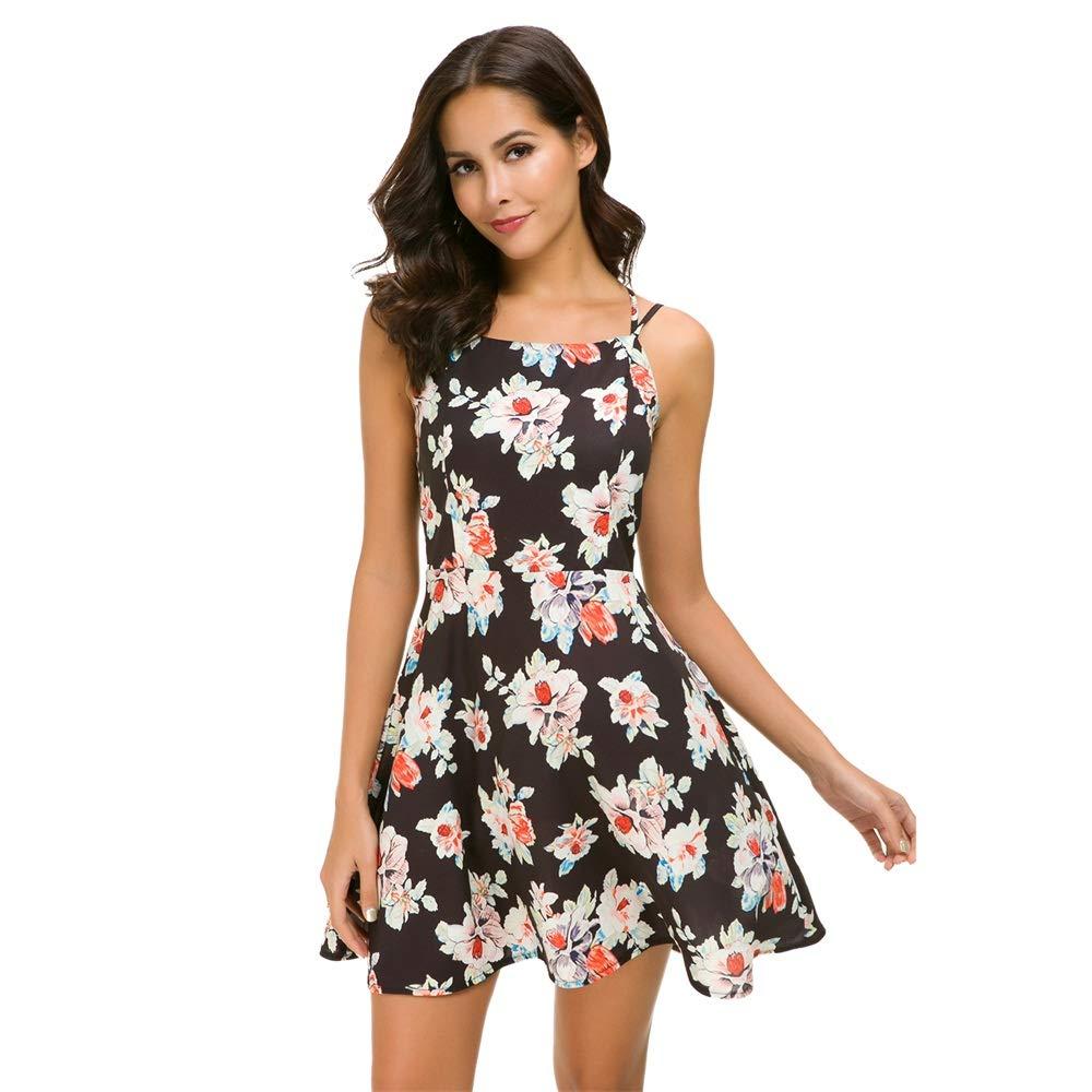 137 Unifizz Women's V Neck Spaghetti Strap Floral Print Split Sleeveless Bodycon Mini Dress