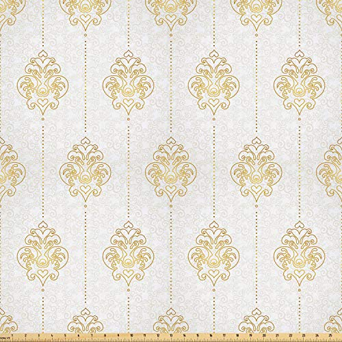 Border Swirl Dot (Ambesonne Vintage Fabric by The Yard, Ornamental Tracery Inspired Swirl Curl Elements Vertical Borders with Dots, Microfiber Fabric for Arts and Crafts Textiles & Decor, 3 Yards, Earth Yellow White)