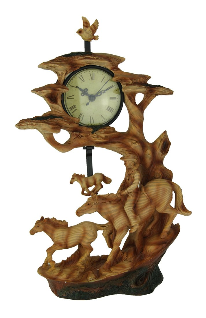 Everspring Import Company Resin Table Clocks Trail Rider Cowboy and Horse Carved Wood Look Sculptural Pendulum Clock 8.5 X 11.75 X 3.5 Inches Tan by Everspring Import Company
