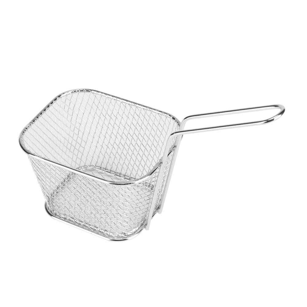 Mini Fry Baskets, Small Gold Metal Baskets Stainless Steel Mini French Fries Basket Square Fryer Baskets GLOGLOW
