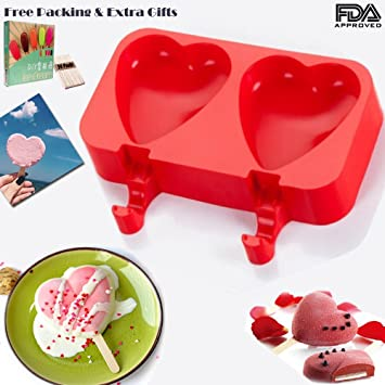 Silicona Hielo Pop Mold, Didadi 2 Cavidades Cute Ice Carem Bar molde, Popsicle Moldes