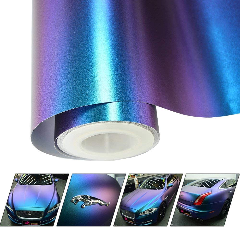Vinyl Frog Matte Metallic Chameleon Purple-Blue Vehicle Car Vinyl Wrap