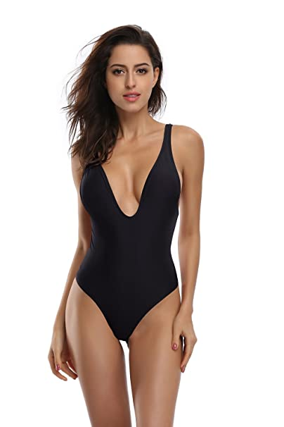 b472131e4d SHEKINI Women s Deep V Padded Backless High Cut Leotard One Piece Swimsuits  Bathing Suits (Small