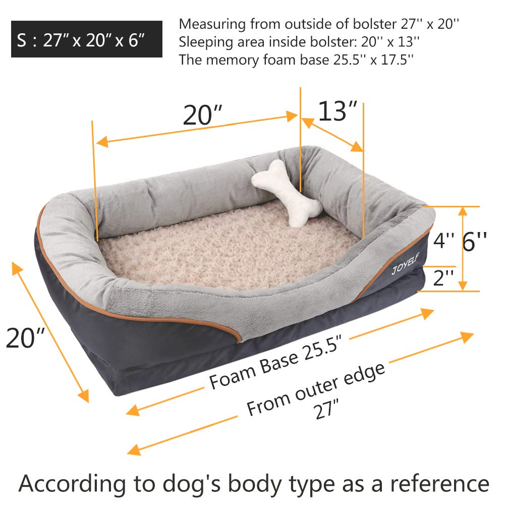 JOYELF Memory Foam Dog Bed Small Orthopedic Dog Bed & Sofa with Removable Washable Cover and Squeaker Toy as Gift by JOYELF (Image #2)