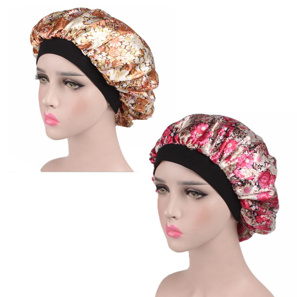 2 Pack Women's Silk Floral Night Cap Elastic Wide Band Sleeping Hat Hair Care Satin Bonnet (Style D)