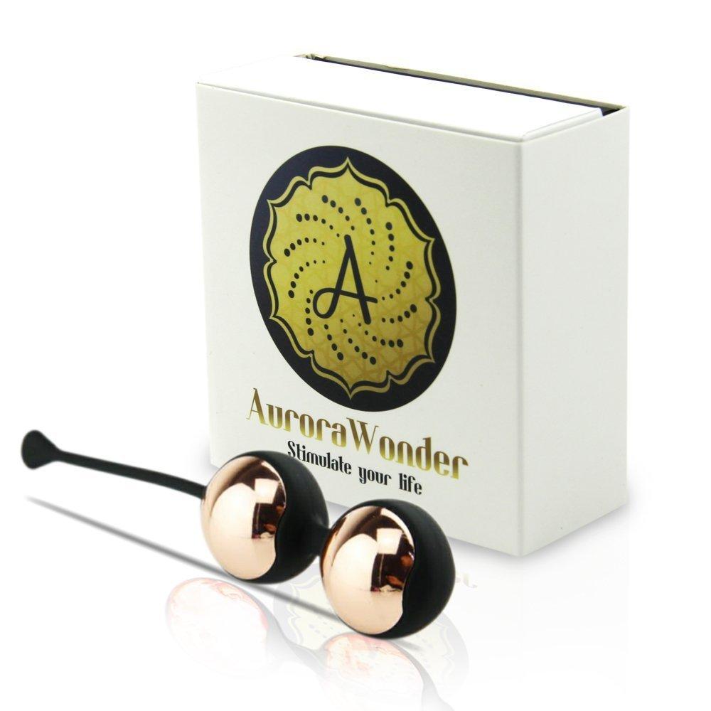 AuroraWonder Premium Black And Gold Stainless Steel Interior Ben Wa Balls. Kegel Exercise Pelvic Floor and bladder Control For Beginners