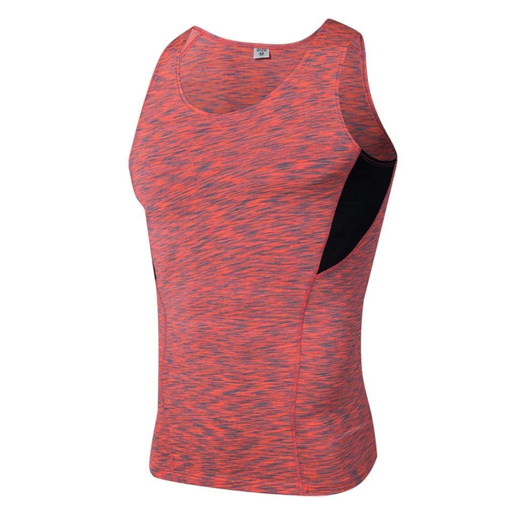 Men's Sports Vest Sleeveless Bodybuilding Tee Workout Shirt Fitness Fast-Dry Breathable Tanks Tops (S, Red)