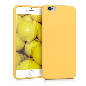 kwmobile Funda compatible con Apple iPhone 6 Plus / 6S Plus - Carcasa de TPU silicona - Protector trasero en amarillo mate