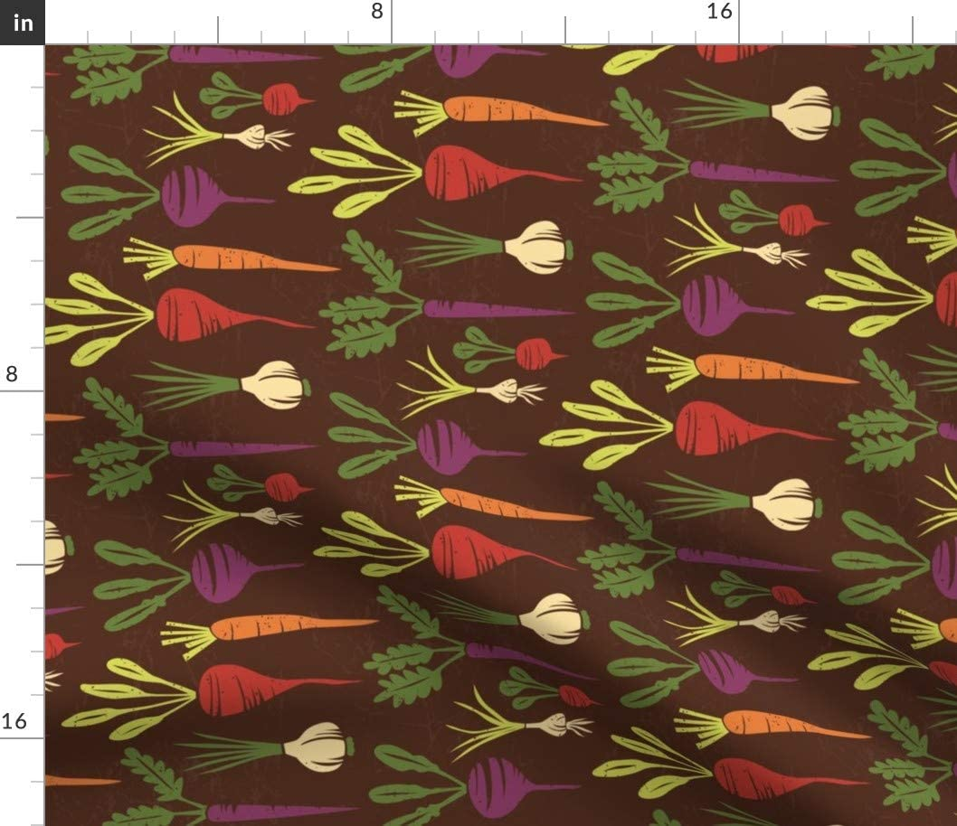 Spoonflower Fabric - Botanical Veggies Vegetables Food Carrot Garlic Onion Radish Block Printed on Basketweave Cotton Canvas Fabric by The Yard - Upholstery Home Decor Bottomweight