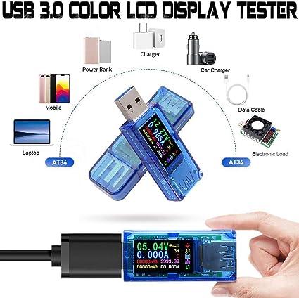voltm/ètre multim/ètre testeur de la capacit/é de la batterie Voltm/ètre USB affichage LCD 4 chiffres free size bleu