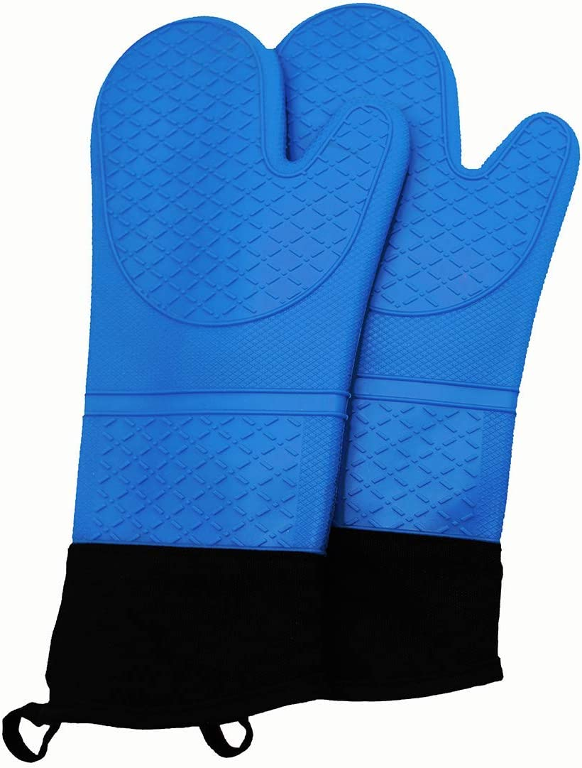 WOWCUTE Extra Long Professional Silicone Oven Mitt, Flexible Oven Gloves,1 Pair, 13.5 Inch (Blue)