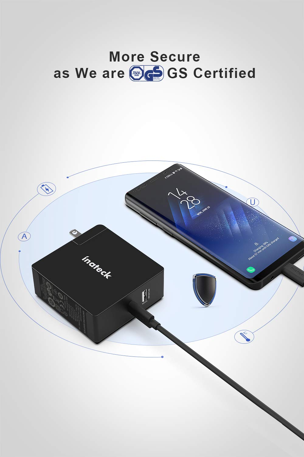 Type C Cable Included,CC01003,Black 2 Meters Inateck USB C USB Charger,60W USB C and 5V//2.4A USB ports,6.6ft
