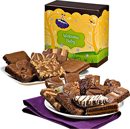 Fairytale Brownies Welcome Baby Brownie & Sprite Combo Gourmet Food Gift Basket Chocolate Box - 3 Inch Square Full-Size and 3 Inch x 1.5 Inch Snack-Size Brownies - 18 Pieces