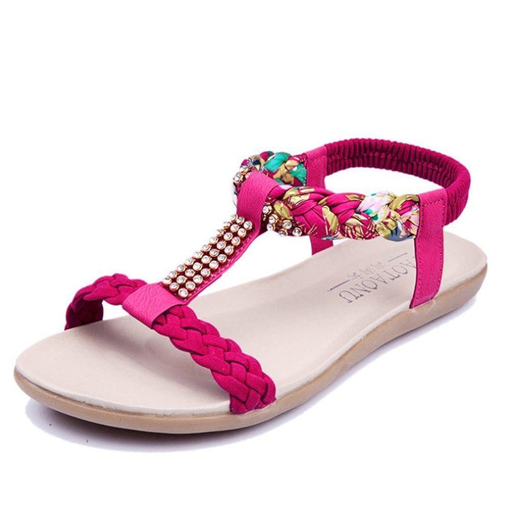 Sandales Plates Femmes Sandales Bout Ouvert Chaussure Plage Vacances Bohême Été à Talons Plats