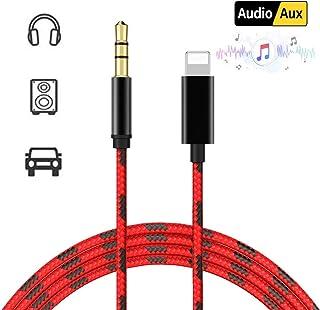 Câble Audio Auxiliaire Voiture pour iPhone 3.5mm Stéréo Adaptateur pour iPhone XS/XS Max/X / 8/8 Plus/ 7 / 7Plus, iPod, iPad, Maison/Voiture Stéréo, Haut-parleurs, Casque, MP3(Blanc-1m)