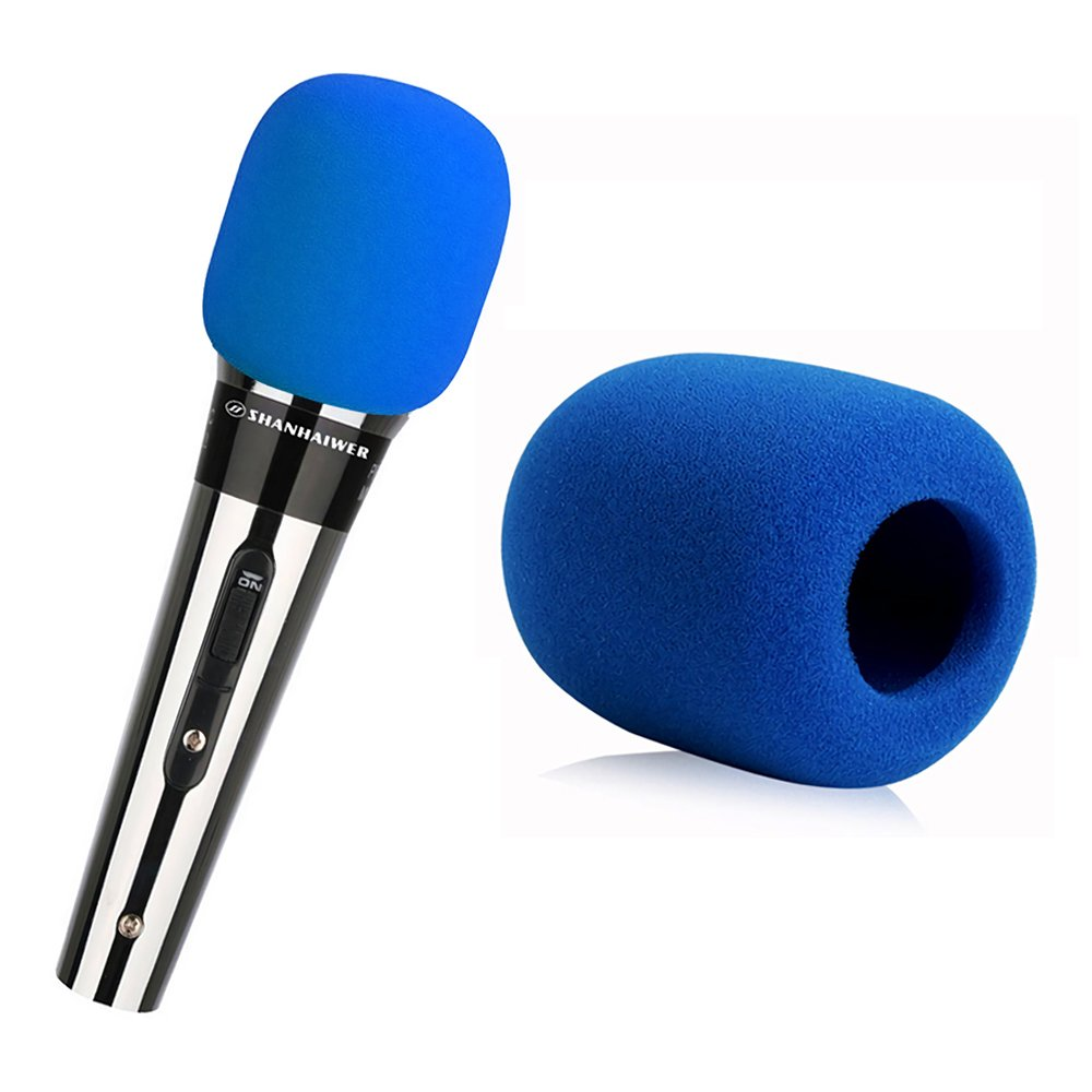 Microphone Windscreen Anti Noise Microphone Sponge Foam Cover Sleeve Protector for Handheld Microphone (5pcs, Blue) Ronoa NA