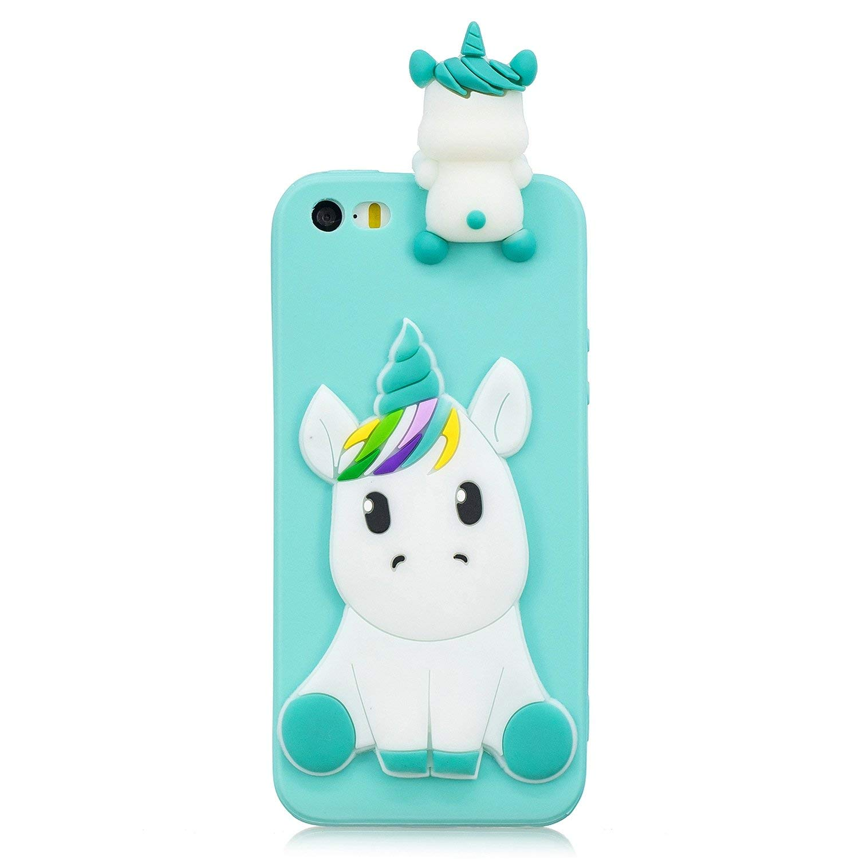 Huiran Funda para iPhone 5 Negro 5s Silicona Motivo 3D Divertidas Unicornio Bonita TPU Gel Ultrafina Slim Case Antigolpes Cover Protecci/ón Carcasa Dibujo Gracioso