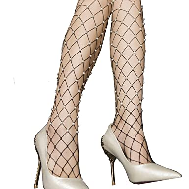 Rameng Sexy Perle Fishnet Sans Couture Filet Bas Femmes Collants Stockings 2a66d0407b1