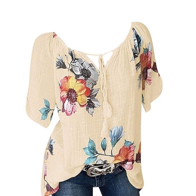 c17445b5c14f Blusas para Mujer Talla Grande LANSKIRT Mujeres Camiseta de Manga ...