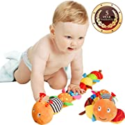 Jcobay Musical Caterpillar Toy, Interactive Multicolored Infant Toy Stuffed Cuddly Baby Toy Ruler Design, Bells Rattle Educational Toddler Plush Toy Newborn, Boys, Girls Over 3 Month