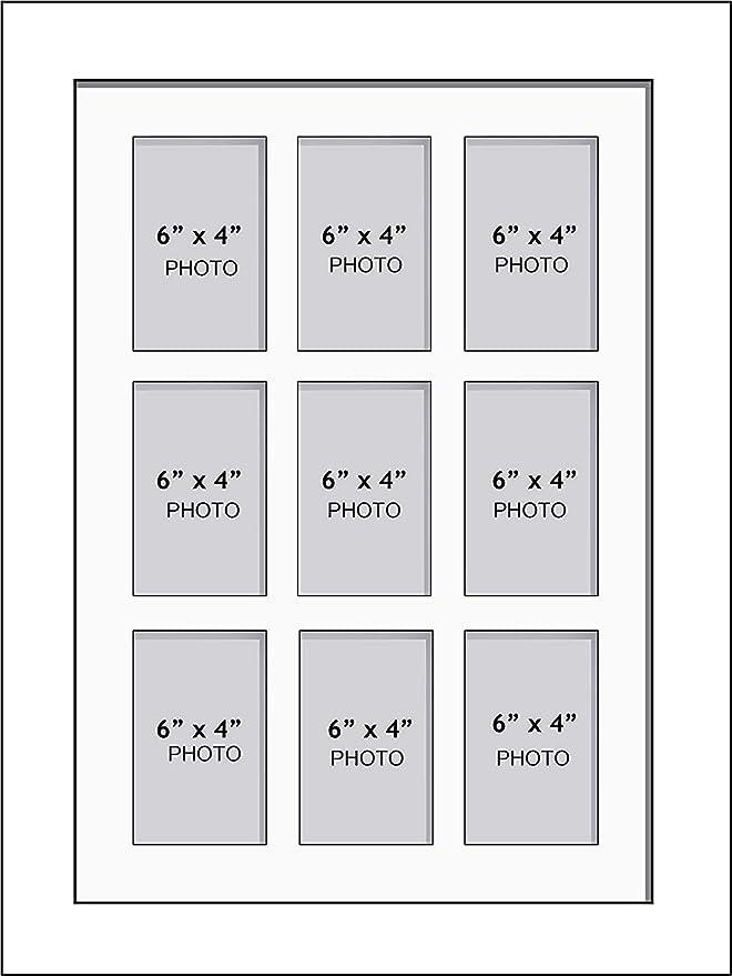 """6/"""" x 4/"""" poucesNoir Mount UK Nouveau Multi Aperture Cadre Photo pour 4 photos"""