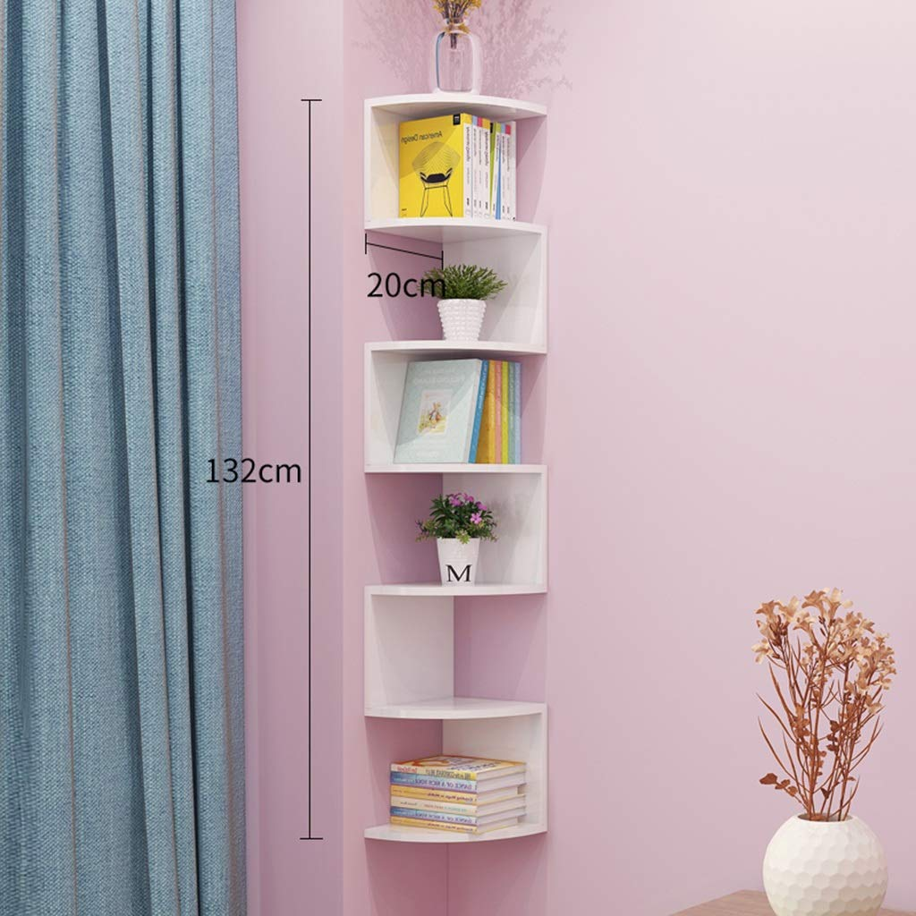 7-Layer Wall Hanging Corner Shelf Natural Facing Corner Book Shelf Rack Shelf Storage Rack Wall Hanging Wall Shelf Wall Corner Frame Corner Triangle Wall Partition (Color : C, Size : 168cm)