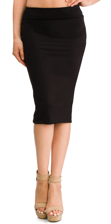 URBAN K Women's Knee High Waist Band Slim Fit Bodycon Pencil Skirt Double Layer