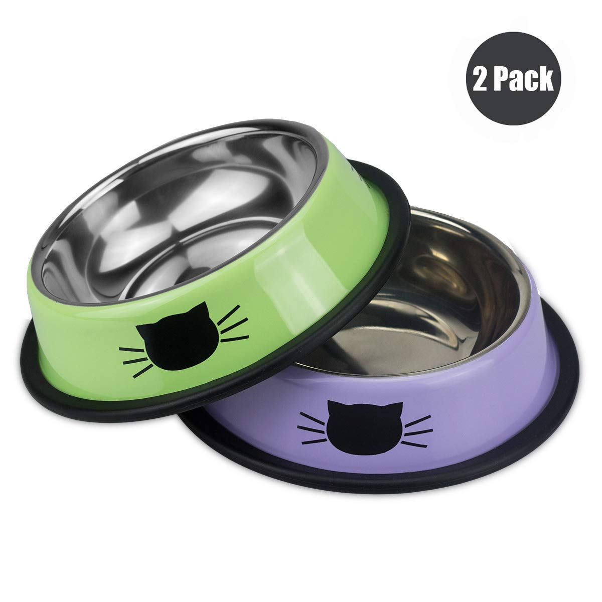 Ureverbasic Cat Bowls, Cat Feeding Bowls Anti-Slip Cat Dishes for Small Kitten Cats, Double Cat Bowl 2 Pack