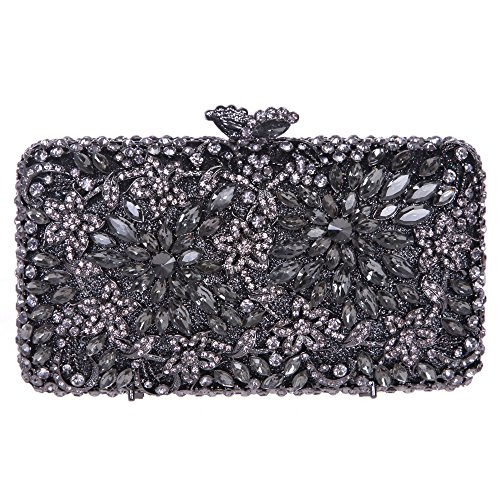 Rhinestone Gray Women Flower Evening for Crystal Purse Match Clutch Dressing Bonjanvye vw4qYS