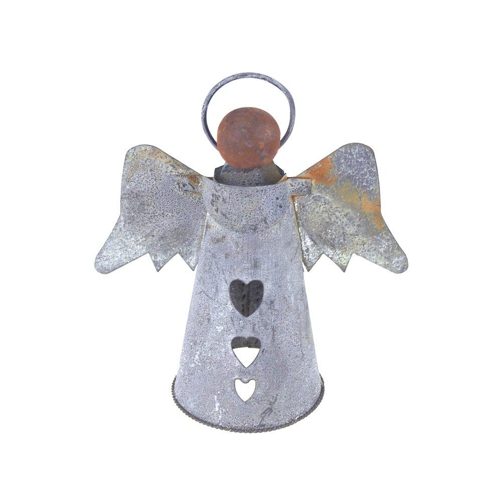 Homeford FKR00000000WB702 Christmas Tin Angel with Wood Head, 6'', Gray