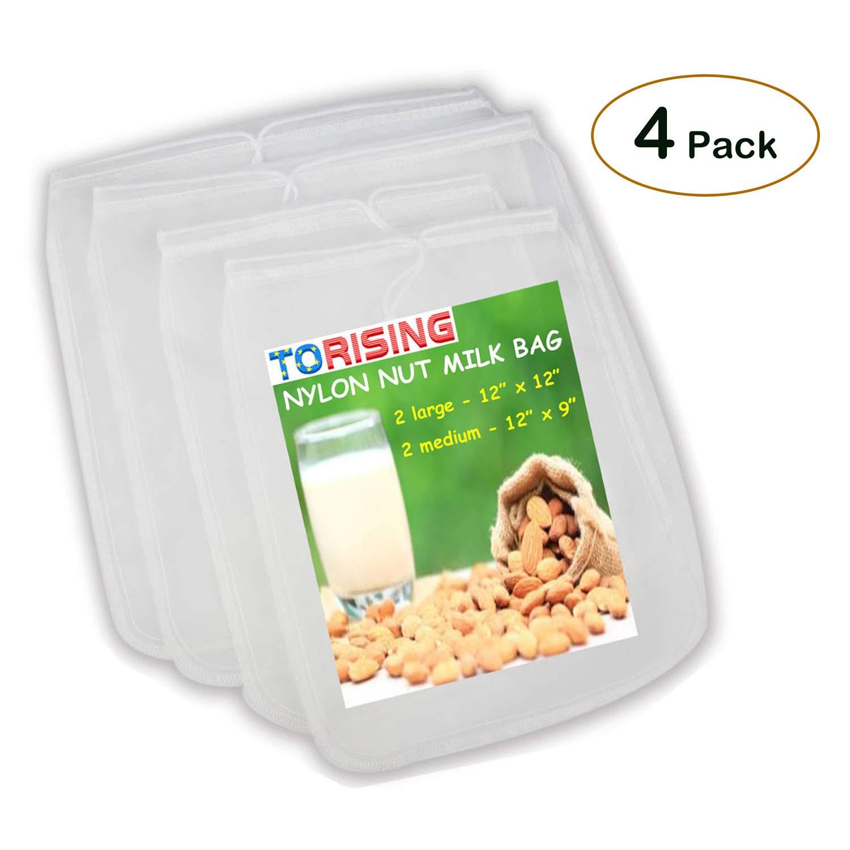 Nut Milk Bag 4 Packs (12'' x 12'' & 12'' x 9'') Strong Reusable Almond Milk Sack for Almond Milk & Cashew Milk & Juice & Cheese & Coffee & Tea - Food Grade Fine Nylon Mesh