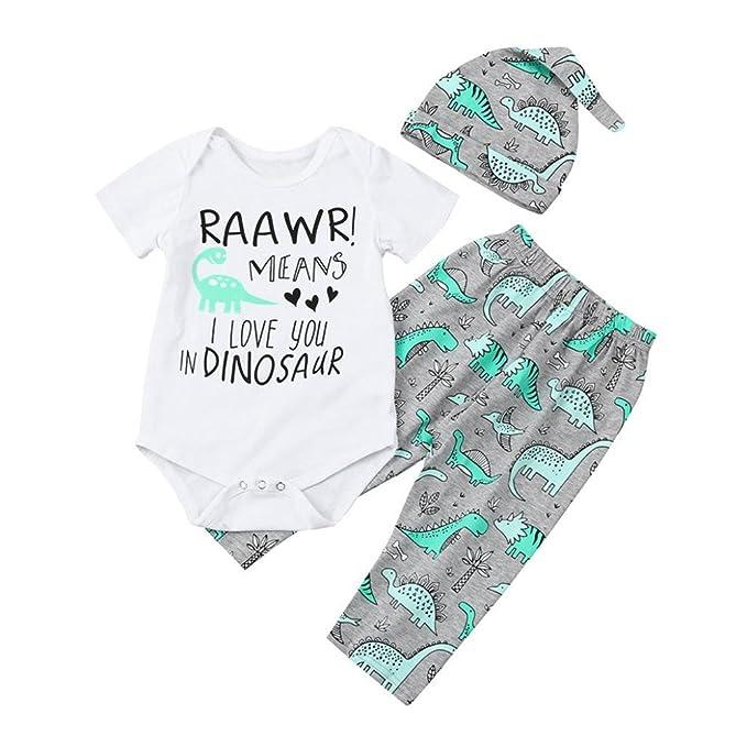 HCFKJ NiñOs ReciéN Nacido Bebé NiñO NiñA Letra De ImpresióN Mameluco Tops +  Dinosaurio Pantalones Conjuntos  Amazon.es  Ropa y accesorios 53db83beac7f