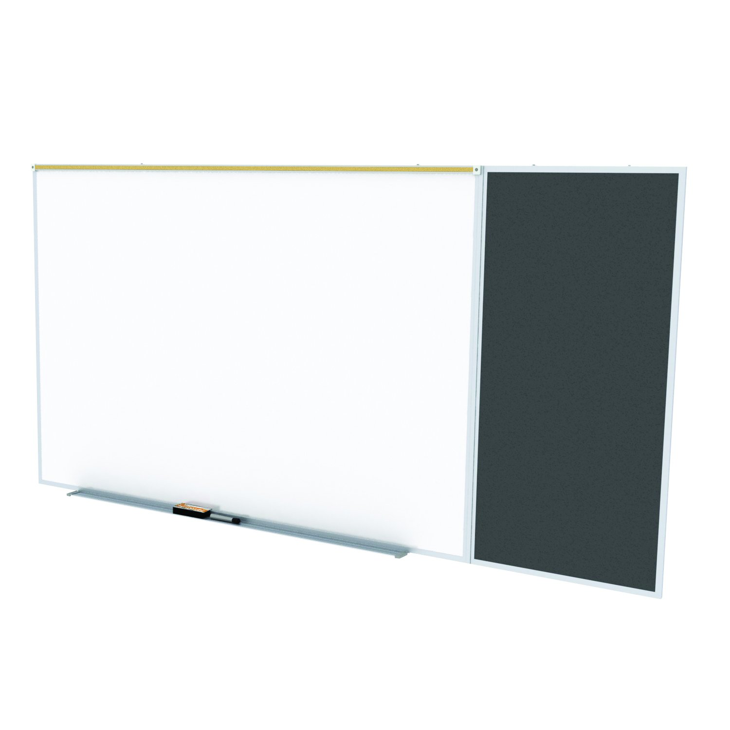 Ghent Style C 4 x 8 Feet Combination Board, Porcelain Magnetic Whiteboard and Recycled Rubber Bulletin Board, Black , Made in the USA