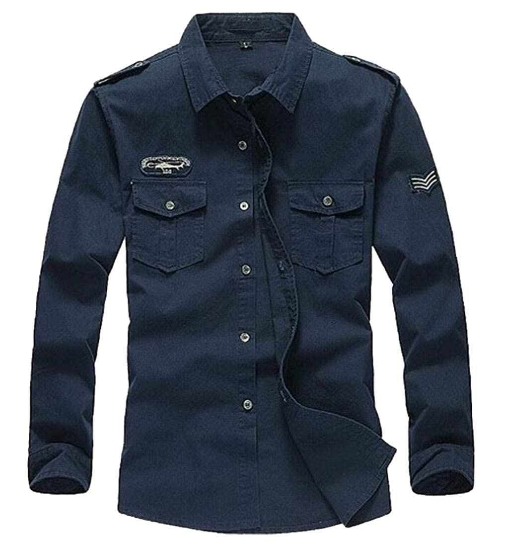 Rrive Mens Pockets Military Casual Long Sleeve Button Down Shirts