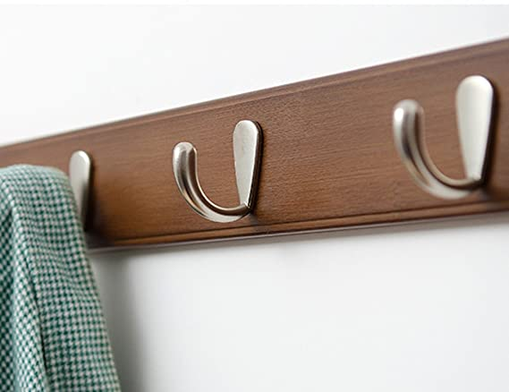 Amazon.com: COAT RACK Wall Mount Stainless Steel Hanger Bamboo Brown Available 4 To 8 Hooks Clothes Hat Holder(Do Not Need Nails (Size : 7 hooks): Kitchen & ...