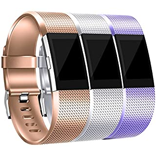 Maledan Bands Replacement Compatible with Fitbit Charge 2, 3 Pack, Royal Gold/Silver/Lavender, Large
