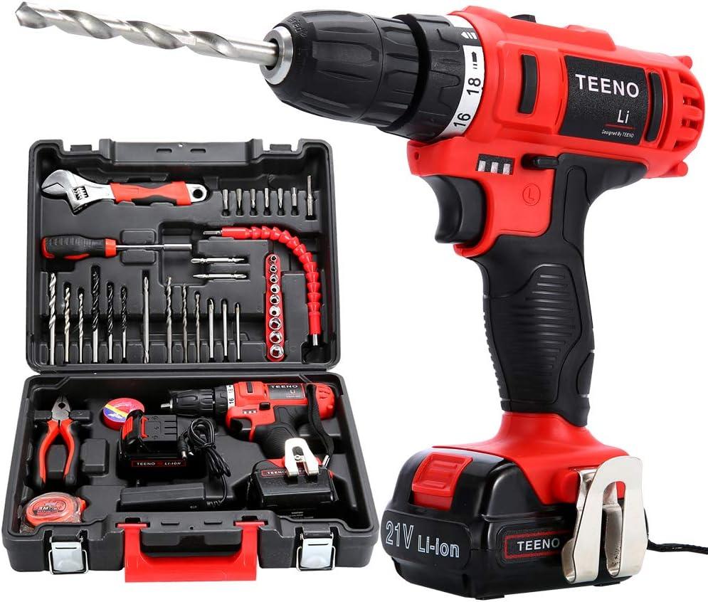 Teeno Li - Taladro destornillador sin cables de 21V + 2baterías de litio + 41accesorios + guantes profesionales