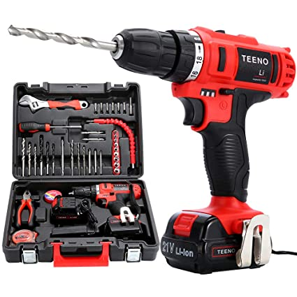 TEENO Cordless Drills & Screwdrivers Set with 2 Lithium-Ion Batteries  1500mAh Screwdriver Max Torque 40 Nm,10mm Chuck,Variable Speed, 18+1 Torque