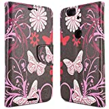 Google Nexus 6P Wallet Case, CoverON® [CarryAll Series] Flip Folio Card Slot Pouch Cover Screen Protector + Strap Case For Google Nexus 6P - Pink Butterfly Design
