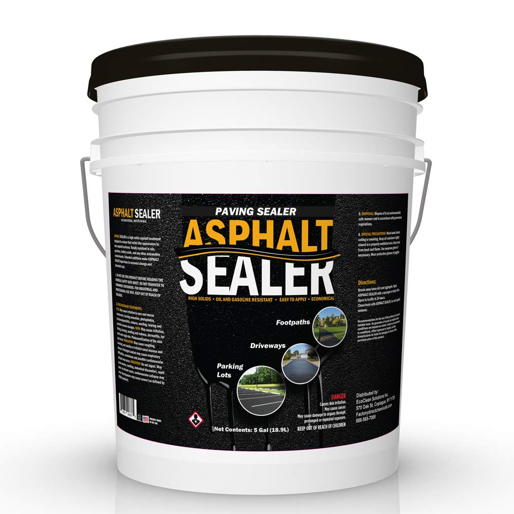 High Solids Premium Asphalt Sealer 5 Gallon Pail | Sealer for Driveways Blacktop & Asphalt | Commercial Grade, Easy Application